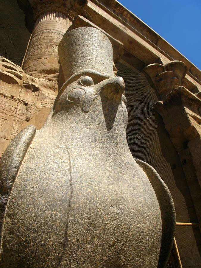 Staty av den egyptiska guden Horus inom den Edfu templet, Egypten royaltyfria bilder