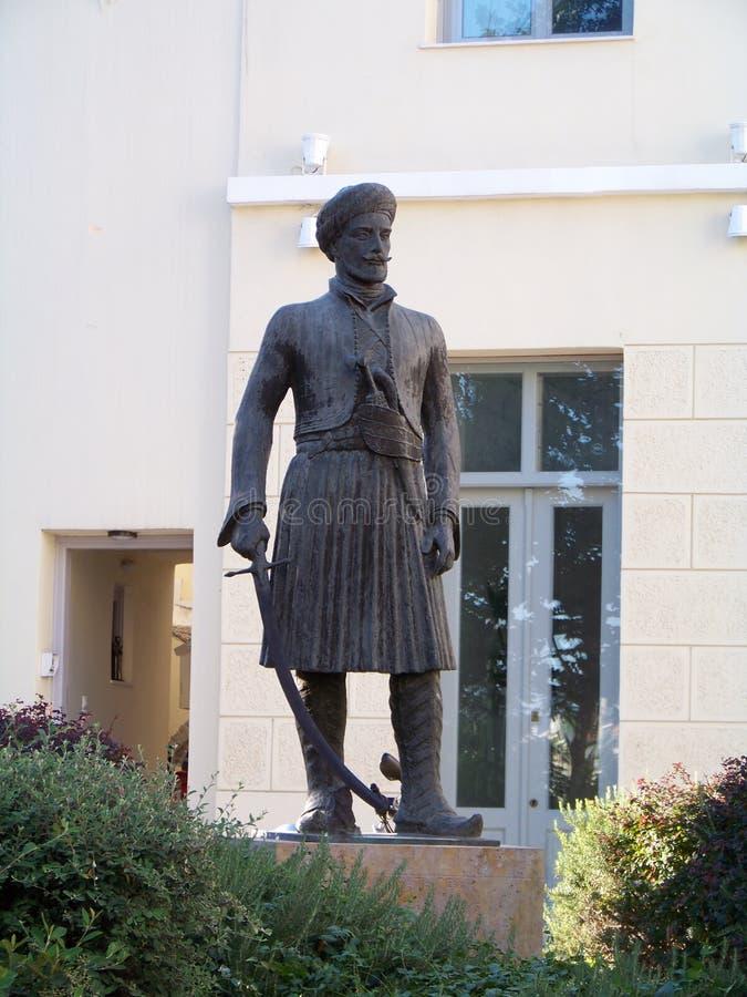 Staty av den grekiska självständighetkrighjälten 1821 arkivbild