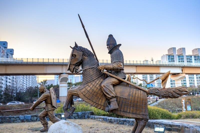 Staty av det forntida Garak arvet på vägen i Gimhae, södra Gyeongsang landskap royaltyfria bilder