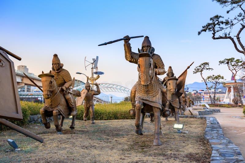 Staty av det forntida Garak arvet på vägen i Gimhae, södra Gyeongsang landskap royaltyfria foton