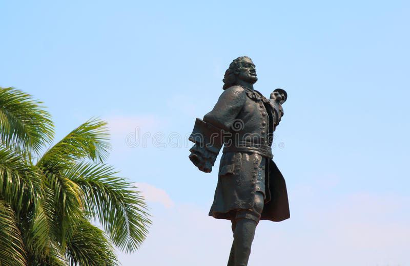 Staty av Don Blas de Lezo Cartagena Colombia arkivfoton