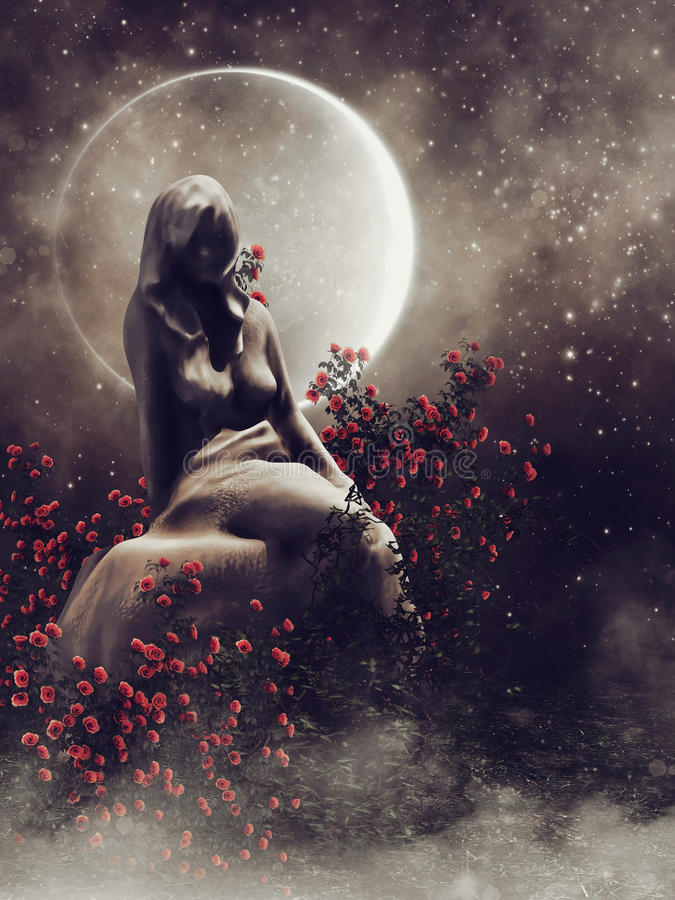 Staty av en kvinna med rosor vektor illustrationer