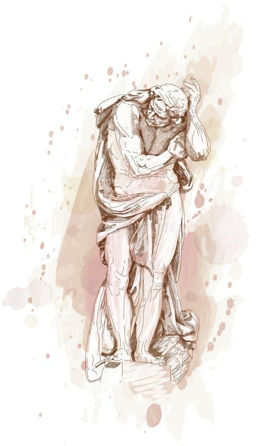 Staty av en man vektor illustrationer