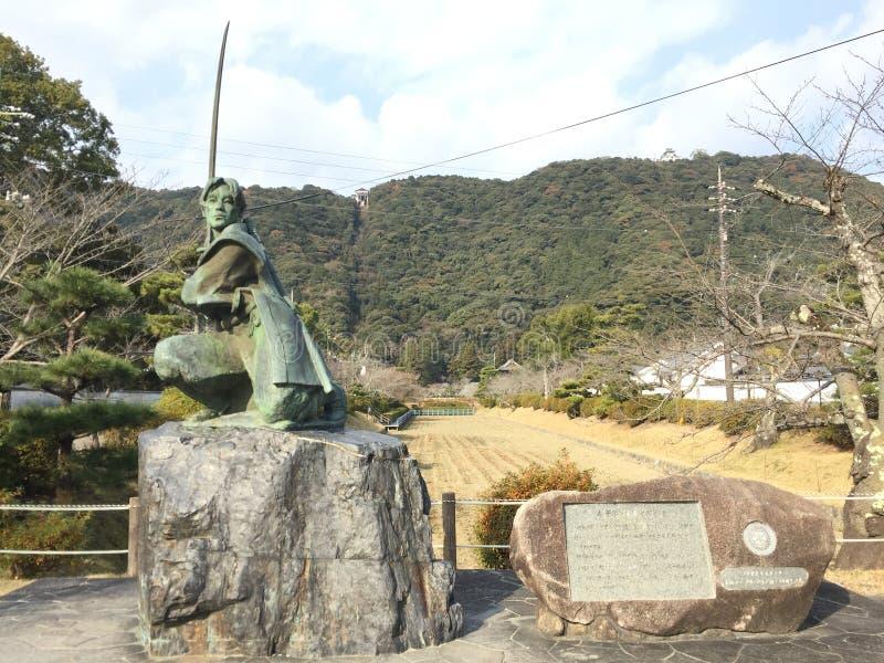 Staty av fäktaren, Iwakuni, Yamaguchi, Japan royaltyfri foto