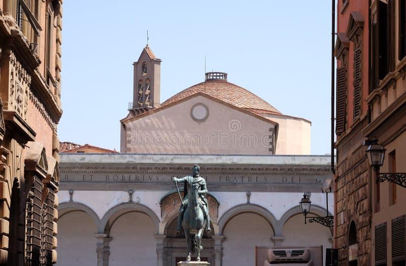 Staty av Ferdinando Jag de Medici i Florence, Italien royaltyfria foton