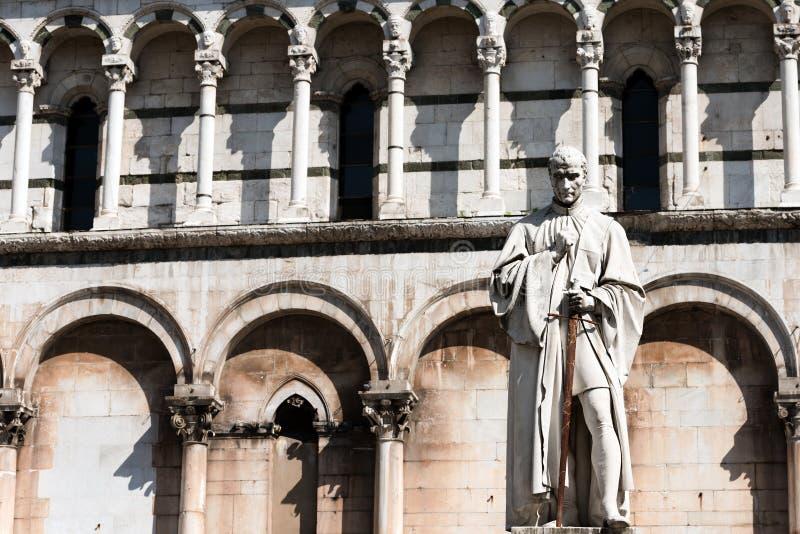 Staty av Francesco Burlamacchi - Lucca Italien arkivfoto