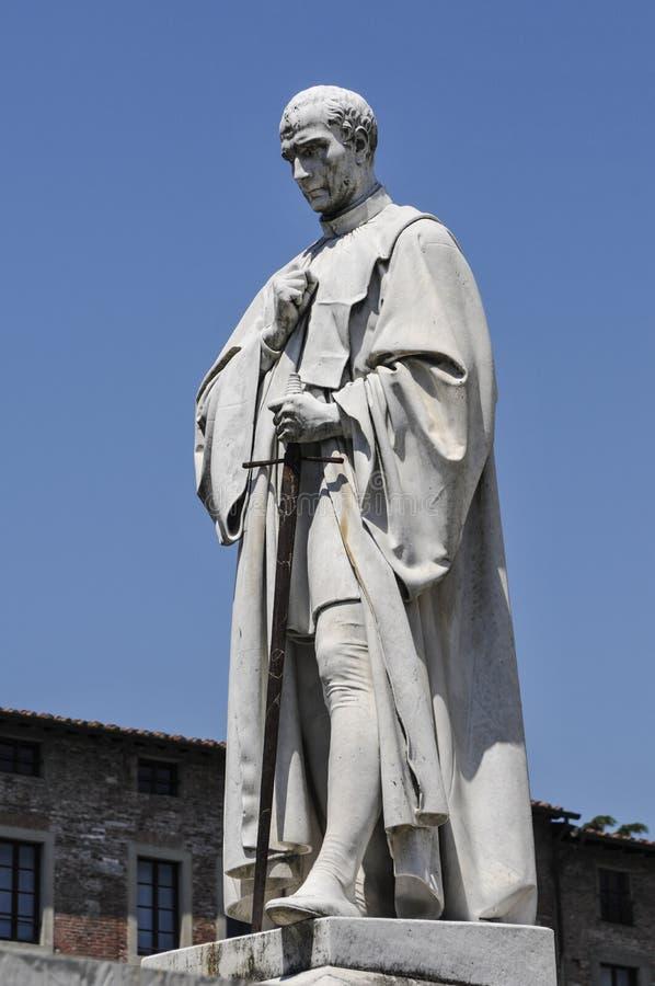 Staty av Francesco Burlamacchi-Piazza San Michele-Lucca Italy royaltyfria foton