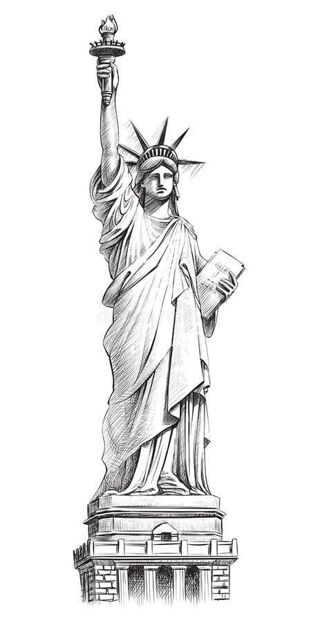 Staty av frihet, dragen illustration för vektor hand royaltyfri illustrationer