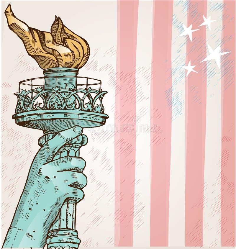 Staty av frihet med facklan vektor illustrationer