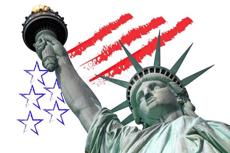 Staty av frihet med U S-symbol royaltyfri foto