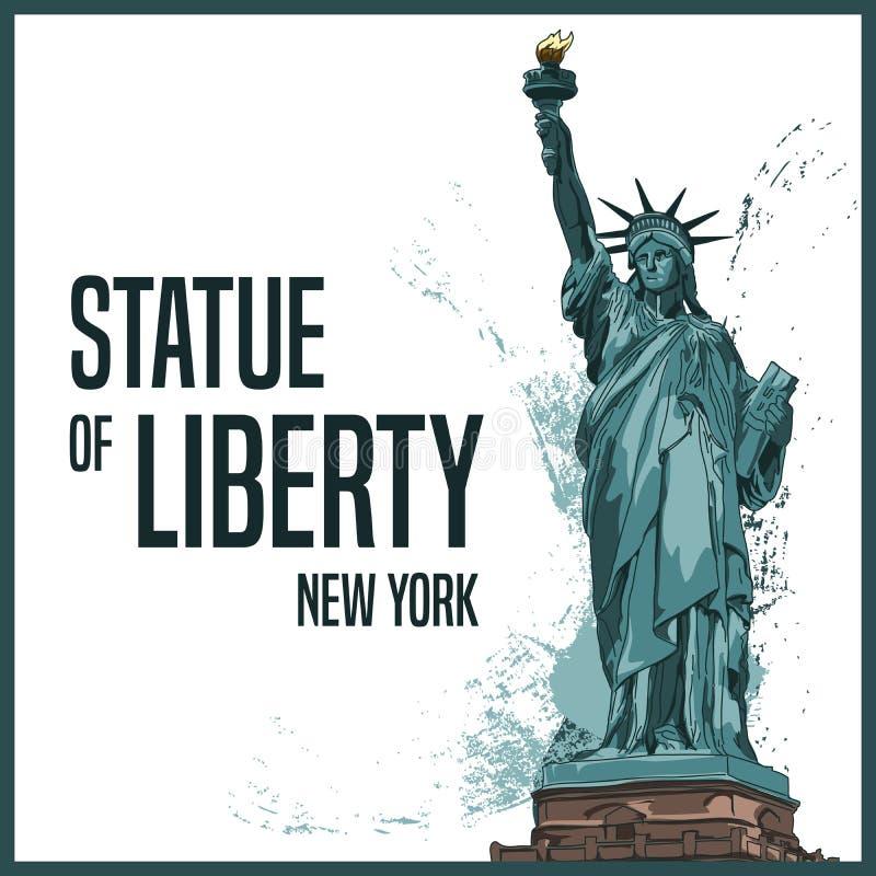 Staty av frihet, New York, Amerikas f?renta stater ocks? vektor f?r coreldrawillustration vektor illustrationer