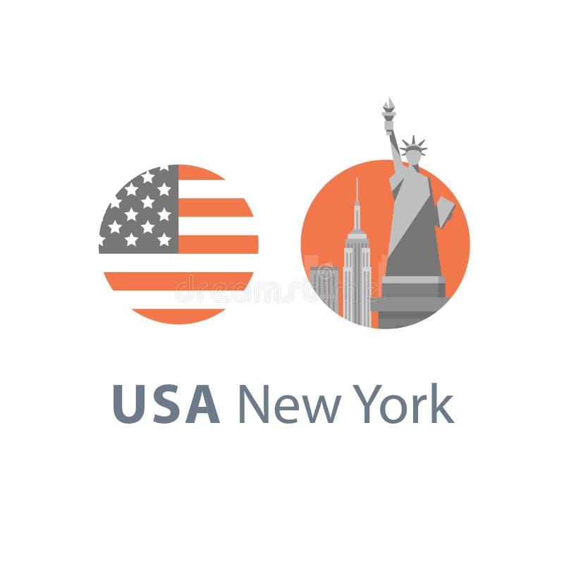 Staty av frihet, New York symbol, loppdestination, berömd gränsmärke, Amerikas förenta stater, engelskt utbildningsbegrepp royaltyfri illustrationer
