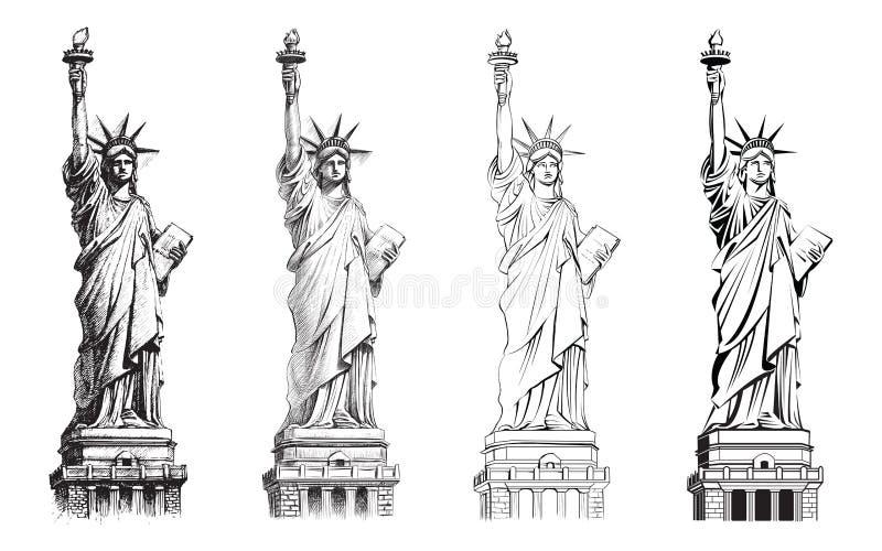 Staty av frihet, vektorsamling av illustrationer stock illustrationer