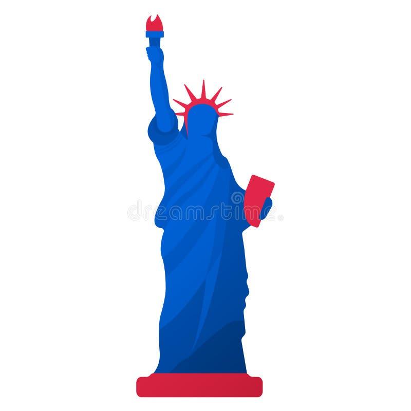 Staty av frihetsymbolen amerikansk kultur Lycklig 4 th Juli och självständighetsdagen den främmande tecknad filmkatten flyr illus stock illustrationer