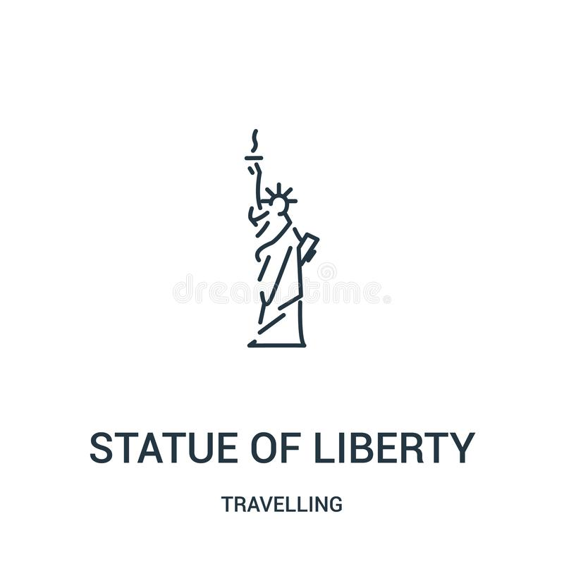 staty av frihetsymbolsvektorn från att resa samlingen Tunn linje staty av illustrationen för vektor för frihetöversiktssymbol lin royaltyfri illustrationer