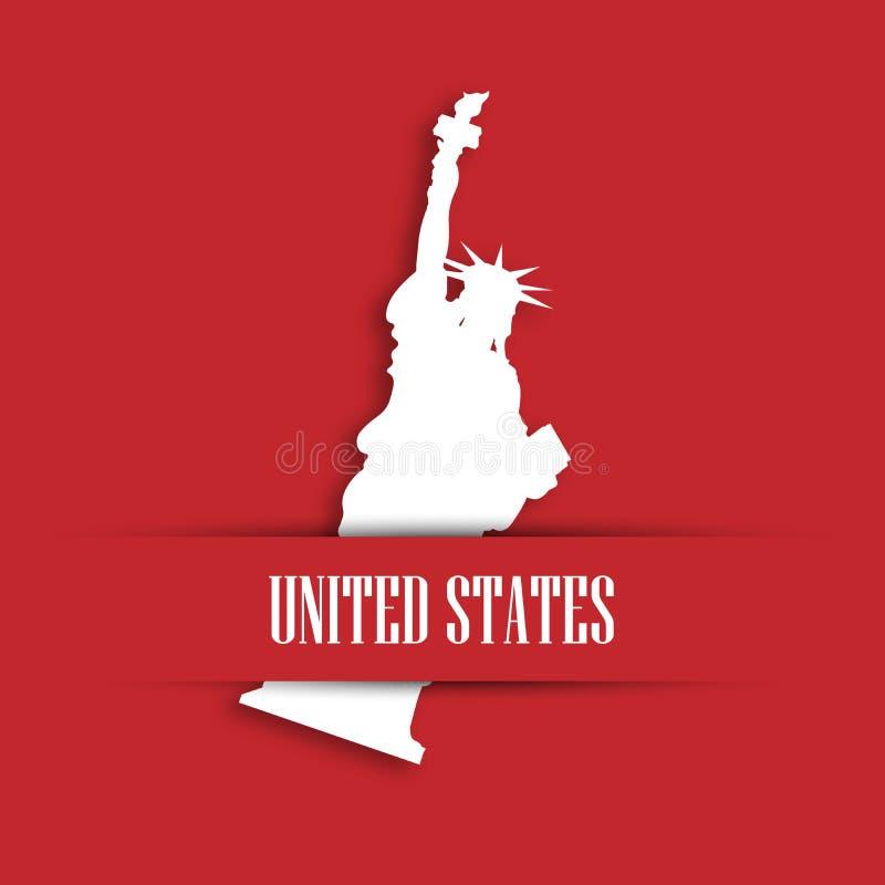 Staty av frihetvitbokklipp i rött hälsningkortfack med etikettFörenta staterna New York symbol och stock illustrationer