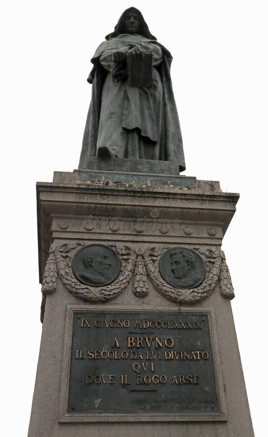 Staty av Giordano Bruno i Rome Italien arkivbild
