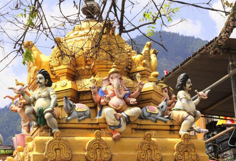 Staty av guden Ganesh, Sri Muthumariamman Thevasthanam tempel, Sri Lanka arkivbilder