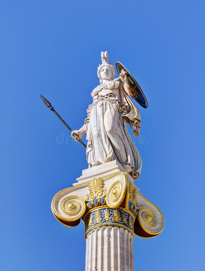 Staty av gudinnan Athena, Athens, Grekland royaltyfri bild