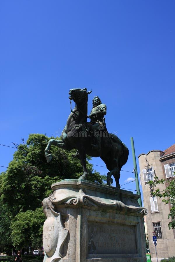 Staty av II Rakoczi Ferenc i Szeged, Ungern, Csongrad region fotografering för bildbyråer