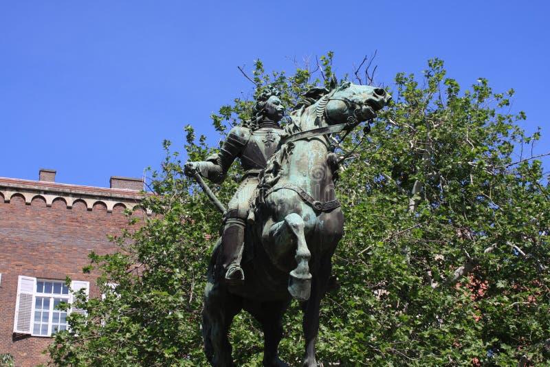 Staty av II Rakoczi Ferenc i Szeged, Ungern, Csongrad region royaltyfria foton