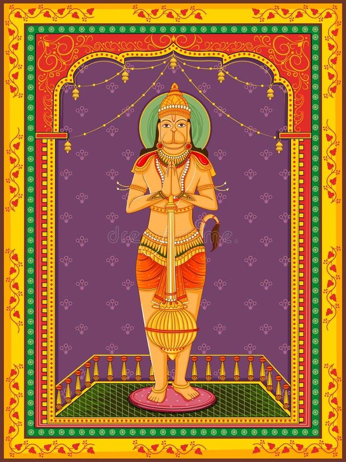 Staty av indiern Lord Hanuman med blom- rambakgrund för tappning royaltyfri illustrationer