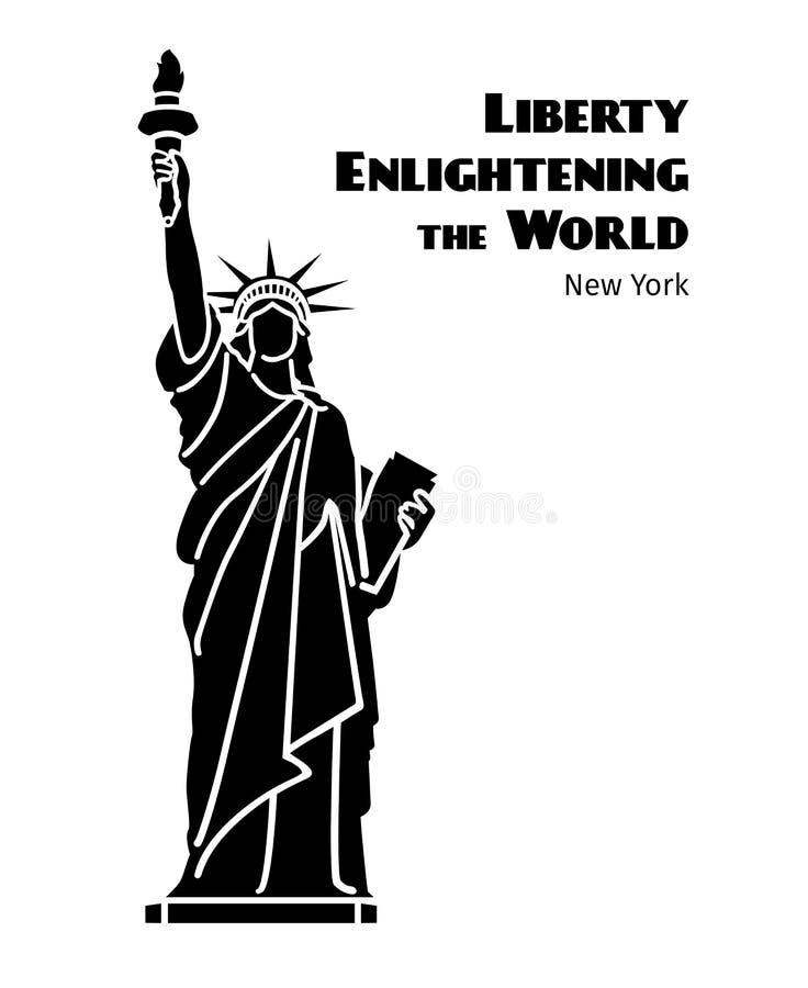 Staty av isolerade konturn för frihetvektor den svart royaltyfri illustrationer