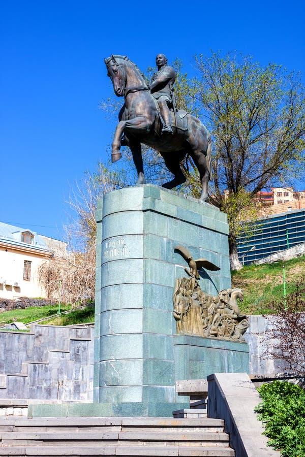 Staty av Ivan Bagramyan 1897-1982 i vår Sovjetisk militär befälhavare och marskalk av sovjet arkivbild