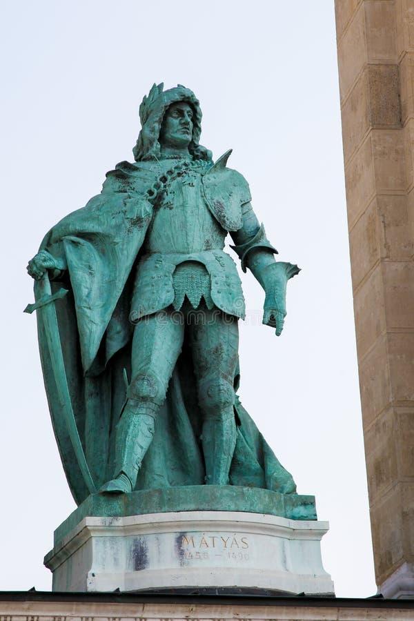 Staty av konungen Matthias Corvinus i Budapest, Ungern arkivbilder