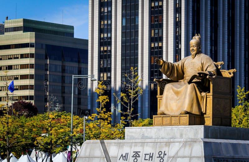 Staty av konungen Sejong det stort i Seoul, Korea royaltyfri foto