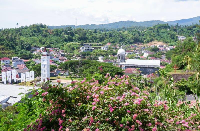 Staty av Kristusvälsignelsen i Manado, norr Sulawesi arkivbild