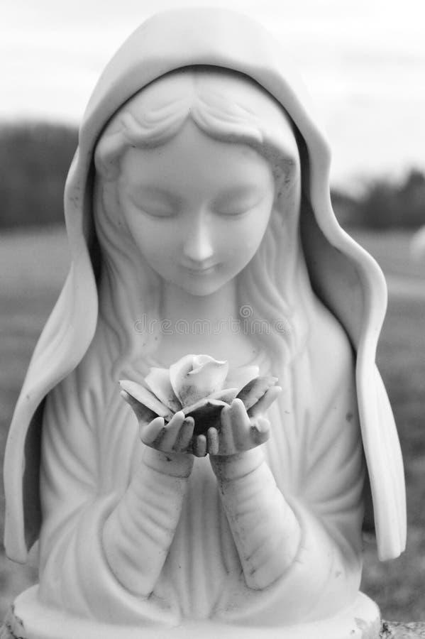 Staty av kvinnan som rymmer en ros fotografering för bildbyråer
