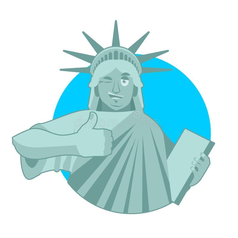 Staty av Liberty Winks tummar up gränsmärket Amerika skulptur royaltyfri illustrationer
