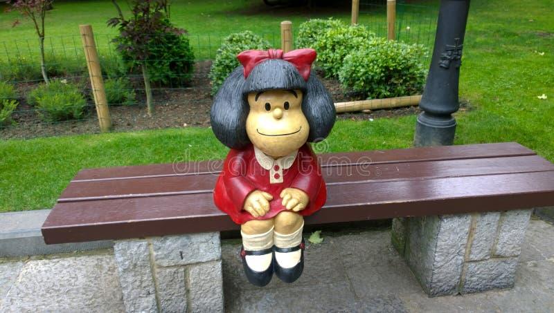 Staty av Mafalda i Oviedo, Spanien royaltyfria foton