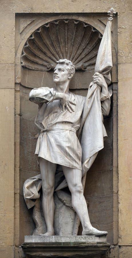 Staty av Michele Di Lando, ledare av revolten av Ciompien, Loggia del Mercato i Florence arkivfoton