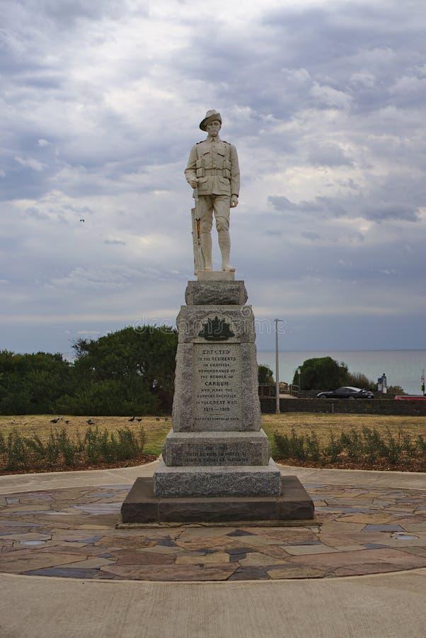Staty av minnet av hjältarna av Carrum i världskrig 1 arkivfoto