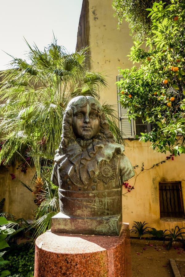 Staty av Napoleon i huvudstaden av Korsika arkivbild