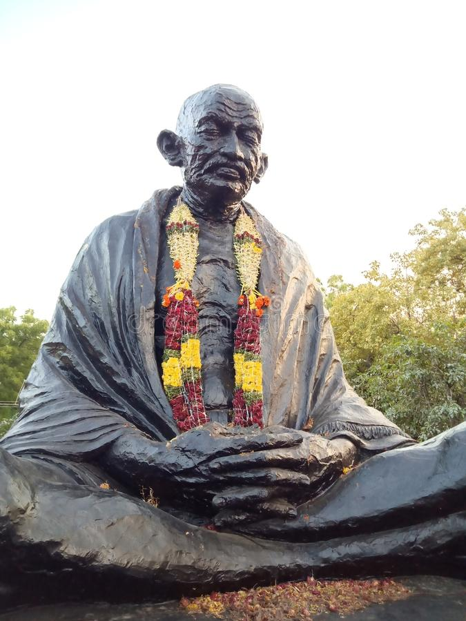 Staty av nationfadern av Indien, Mahatma Gandhi royaltyfri fotografi