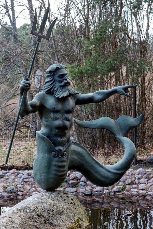 Staty av Poseidon i Jurmala fotografering för bildbyråer