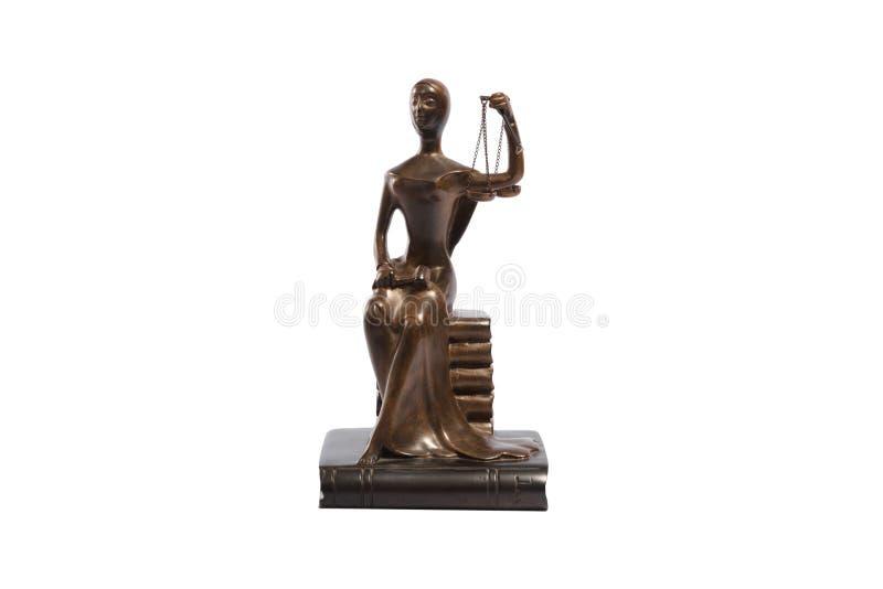 Staty av rättvisa som isoleras på vit arkivbild