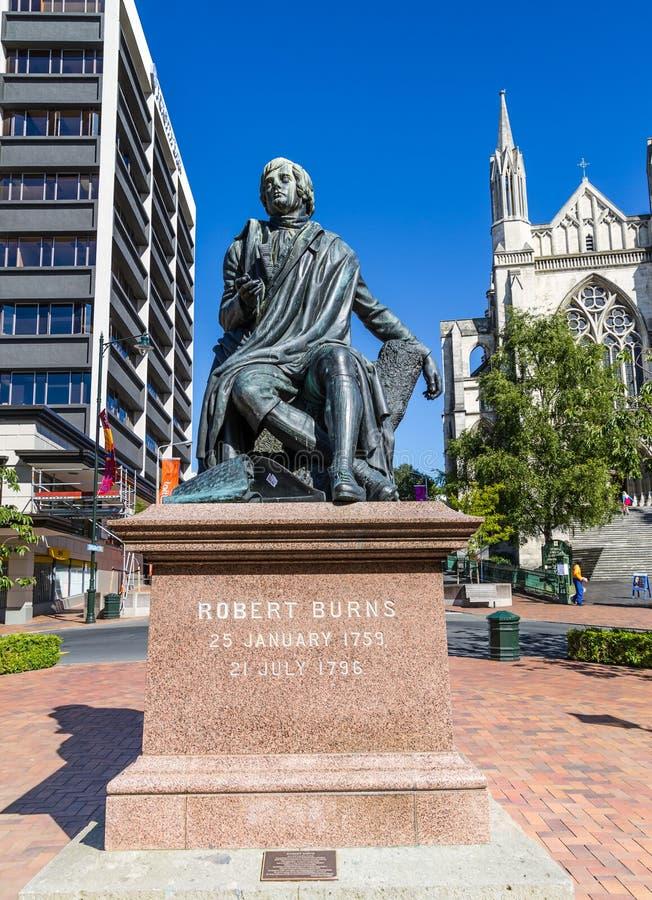 Staty av Robert Burns i Dunedin NZ royaltyfria foton