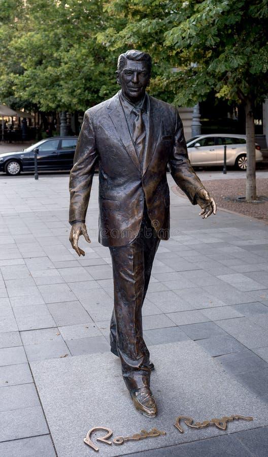 Staty av Ronal Reagan - Budapest - Ungern royaltyfria bilder