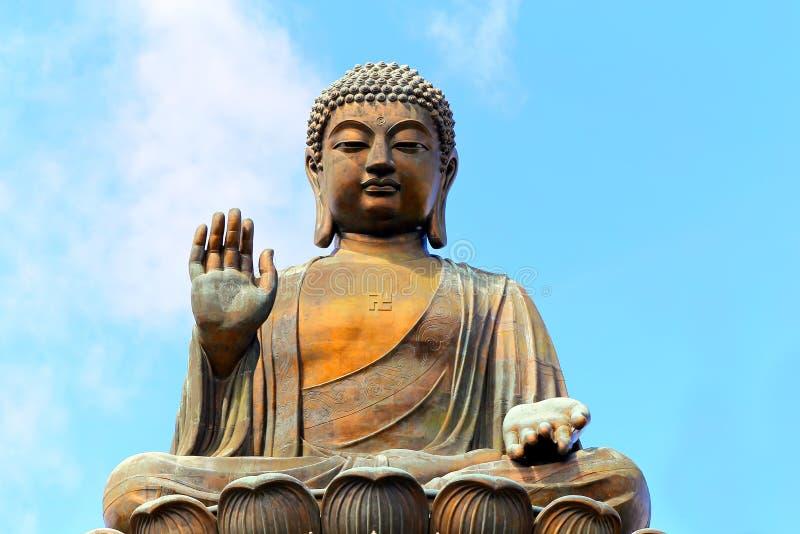 Staty av tian solbrända buddha, Hong Kong arkivbild