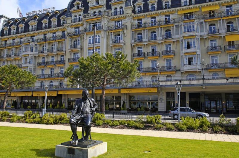 Staty av Vladimir Nabokov, Montreux, Schweiz royaltyfri fotografi