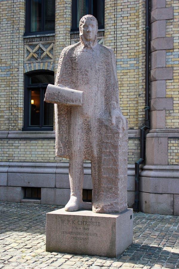 Staty av Wilhelm Frimann Koren Christie i Oslo, Norge arkivbilder