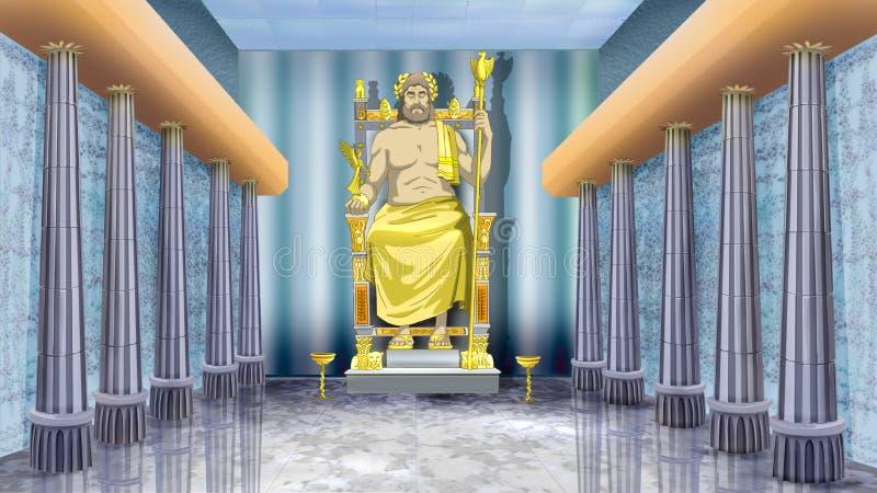 Staty av Zeus på Olympia royaltyfri illustrationer