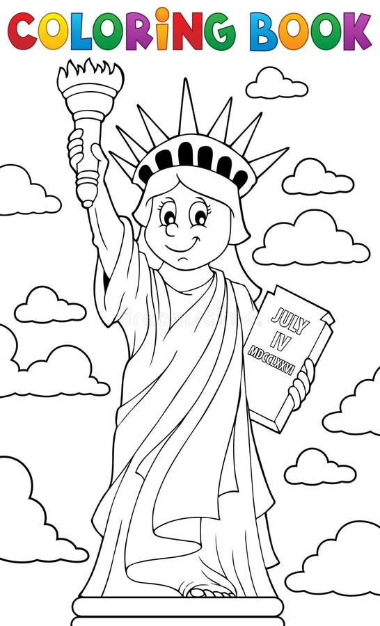 Staty för färgläggningbok av frihettema 1 stock illustrationer