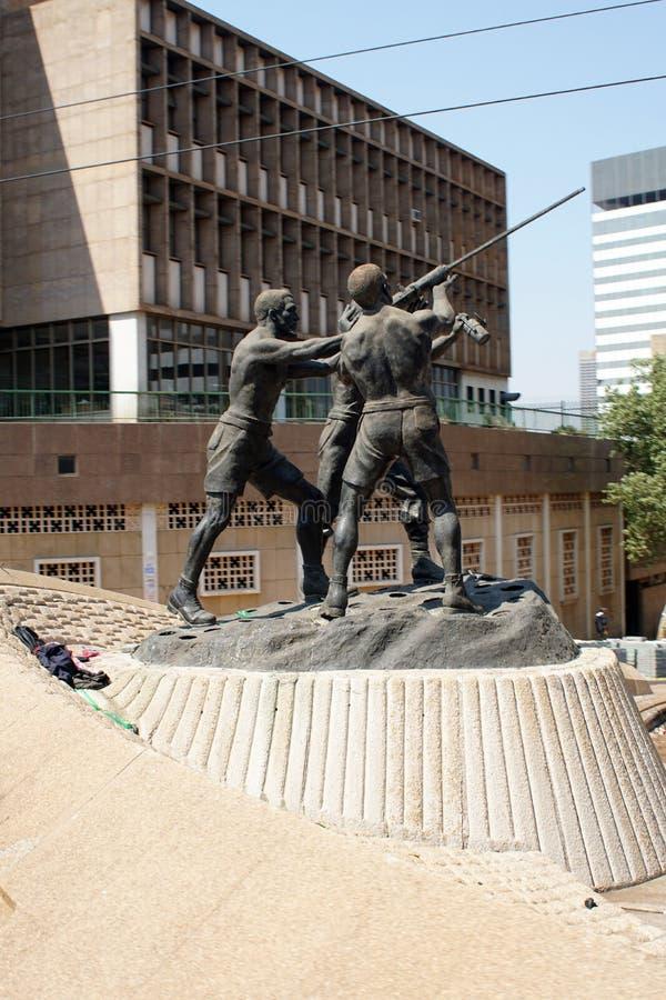 Staty för gruvarbetare` s i i stadens centrum Johannesburg royaltyfria foton