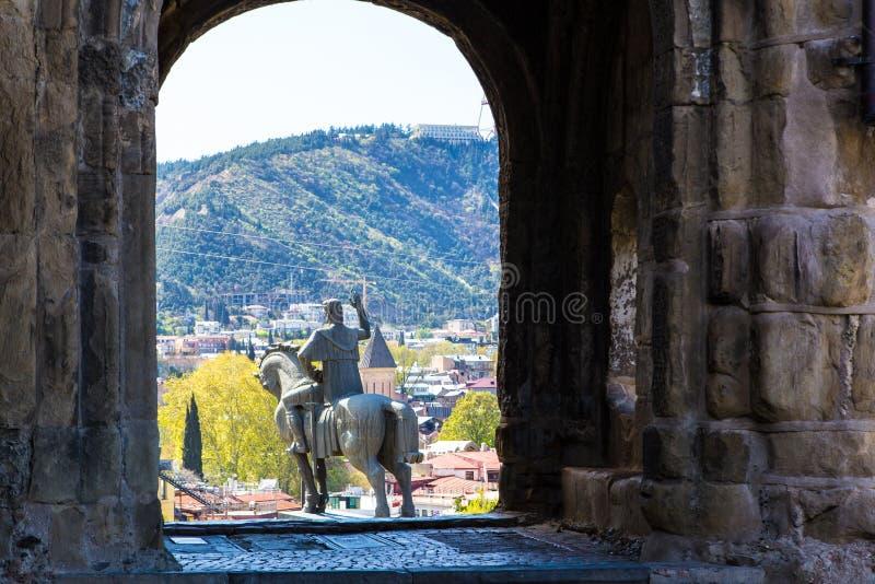 Staty för konung Vakhtang Gorgasali arkivfoton