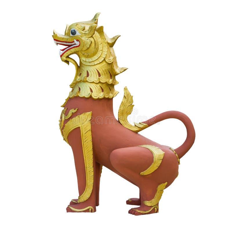 Staty för lejon för konkret förmyndare för tappning thailändsk av den gamla Thailand sagan royaltyfria bilder